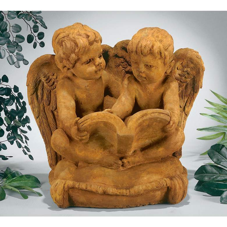 "Two Cherubs Reading 15 1/2""W Garden Accent Sculpture in scene"