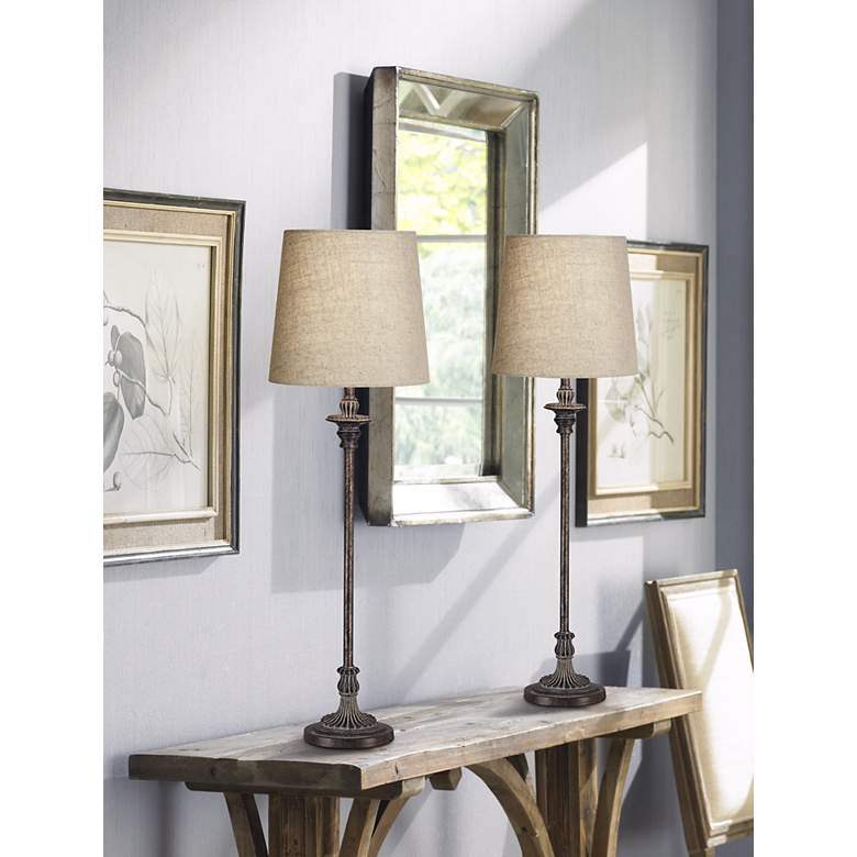 Bentley Weathered Brown Buffet Table Lamp in scene