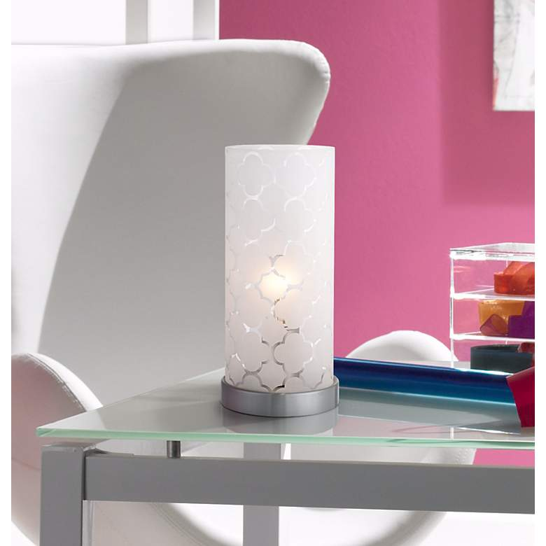 "Babette 11"" High White Glass Cylinder Accent Lamp in scene"