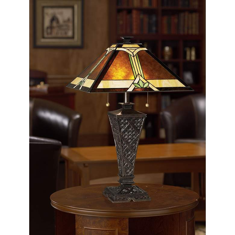 Mission Faux Wicker Tiffany Style Table Lamp in scene