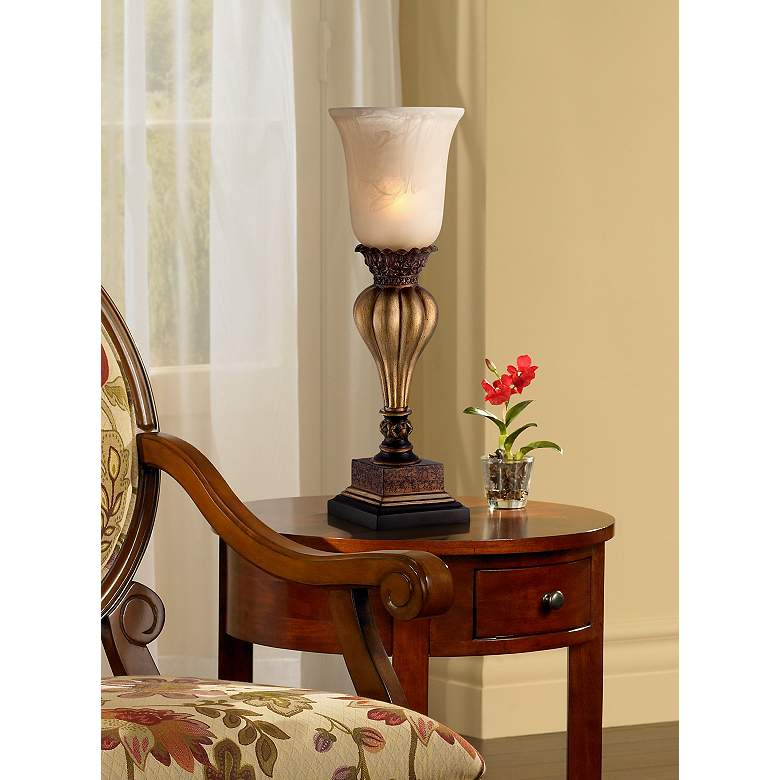 Sattley Gold Finish Console Lamp with Alabaster Glass in scene