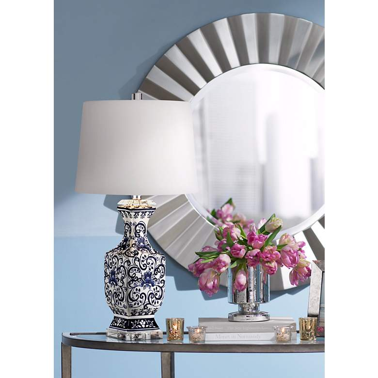 Iris Blue And White Porcelain With Crystal Table Lamp in scene