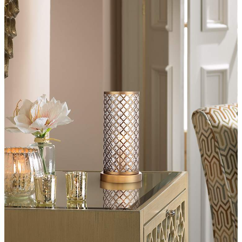 "Alcazar Brass and Mercury Glass 12"" High Accent"