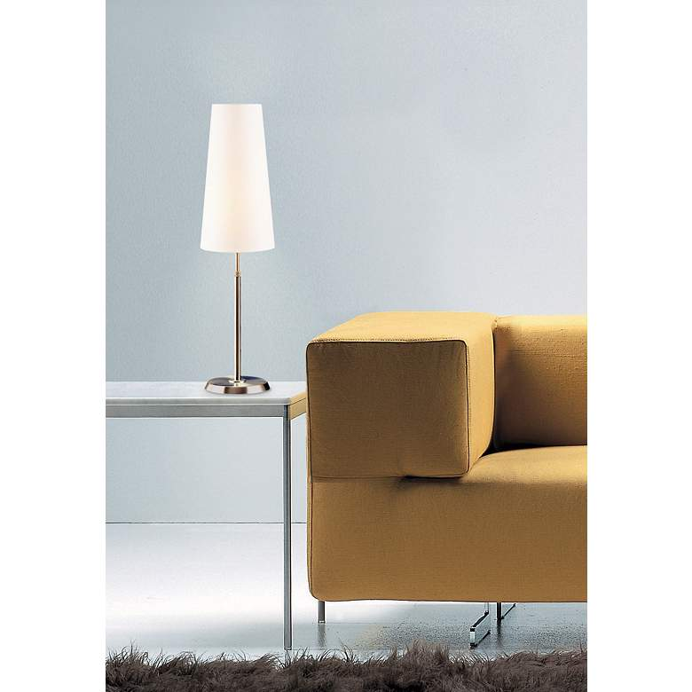 Holtkoetter Satin Nickel Lamp with Slim Satin White Shade in scene
