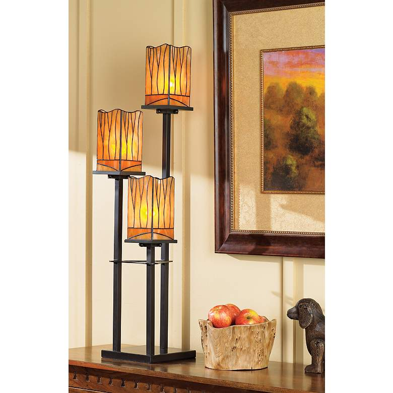 Sedona Collection 3-Tier Console Tiffany Table Lamp in scene