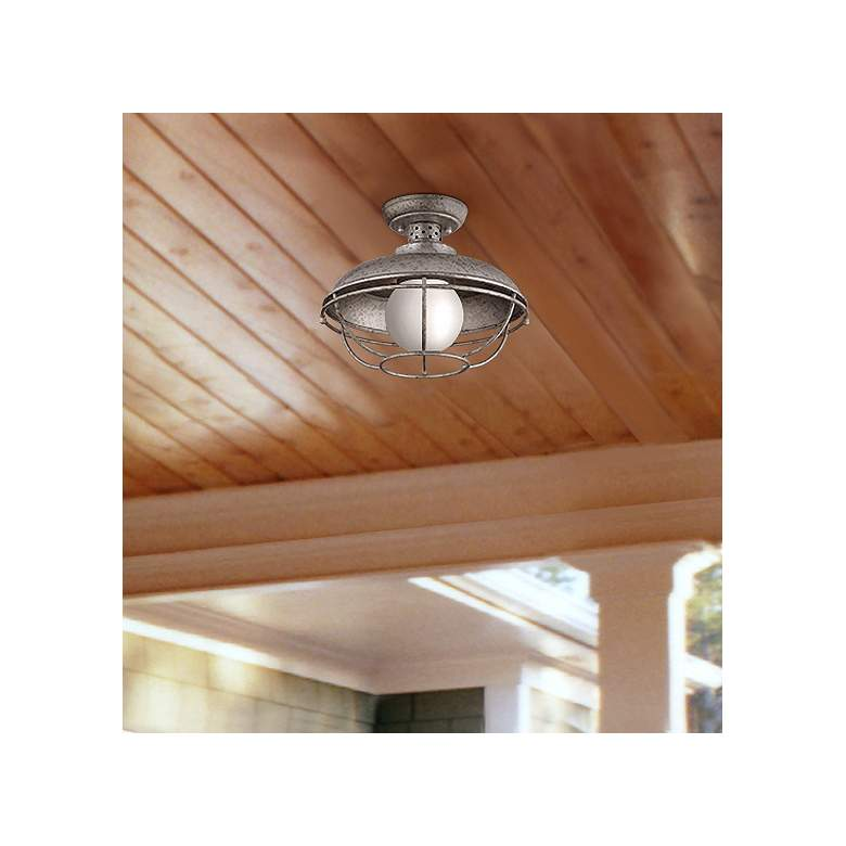 Franklin Park 13 Quot W Galvanized Steel Outdoor Ceiling Light