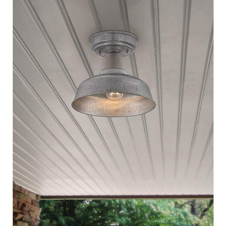 Urban Barn 10 1 4 W Galvanized Steel Outdoor Ceiling Light