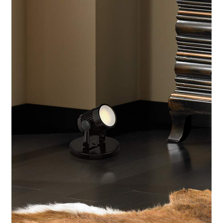 "Downey 2 3/4"" High LED Mini-Uplight in Black in scene"