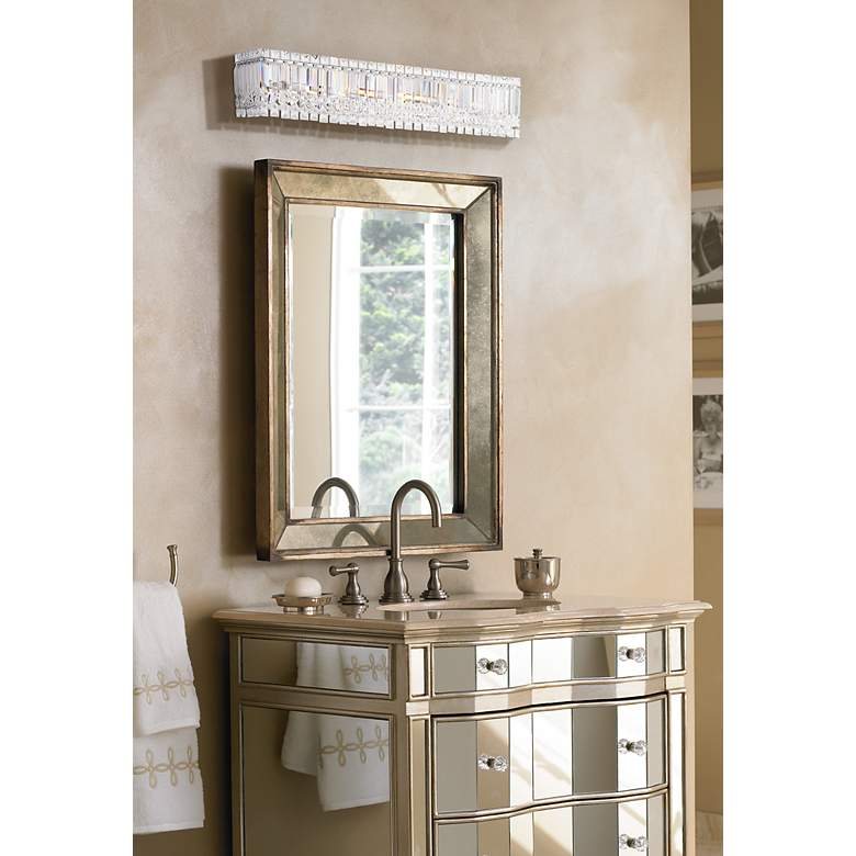 "Possini Euro Crystal Columns 30"" Wide Chrome Bath"