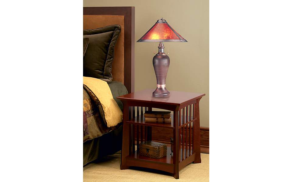 Mission style bedroom, modern table lamp, table lamp, living space