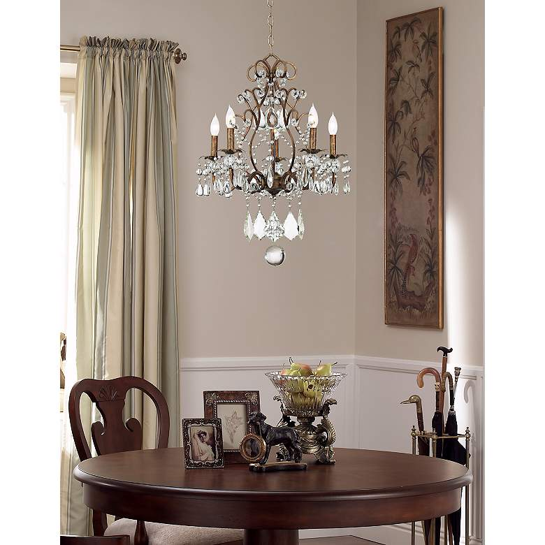 "Jolie Five Light 19 1/2"" Wide Crystal Beaded Chandelier in scene"