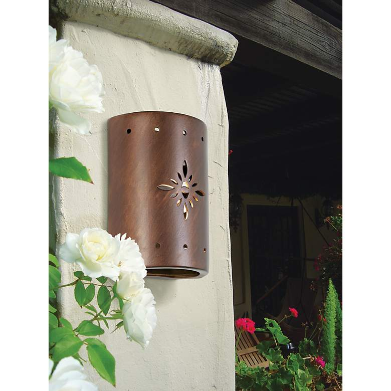 Ceramic Star Pattern Outdoor Wall Light in scene