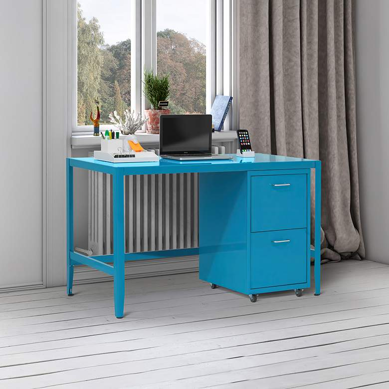 "Eastbourne 19 1/4"" Modern Teal Steel 2-Drawer File Cabinet in scene"