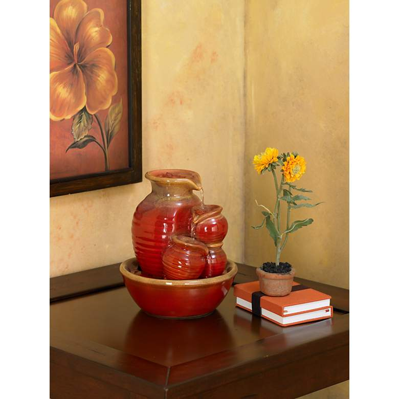"Country Jar 9"" High Ceramic Red Table Fountain"