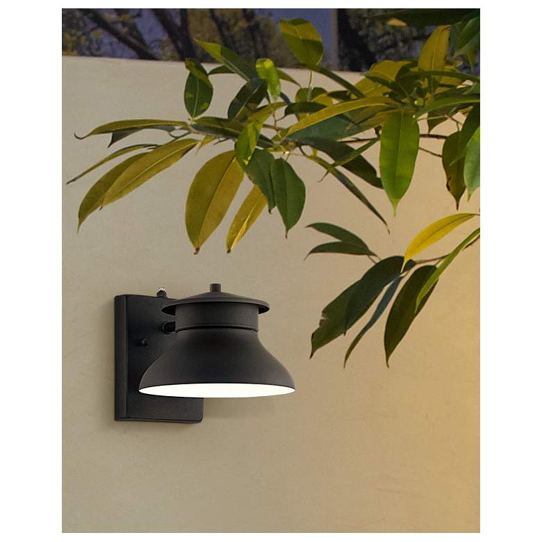 "Danbury 6"" High Black Dusk to Dawn LED Outdoor Wall Light in scene"