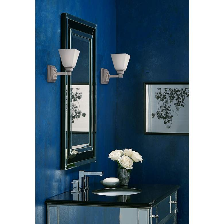 "Mencino-Opal 9"" High Satin Nickel and Opal Glass Wall Sconce in scene"
