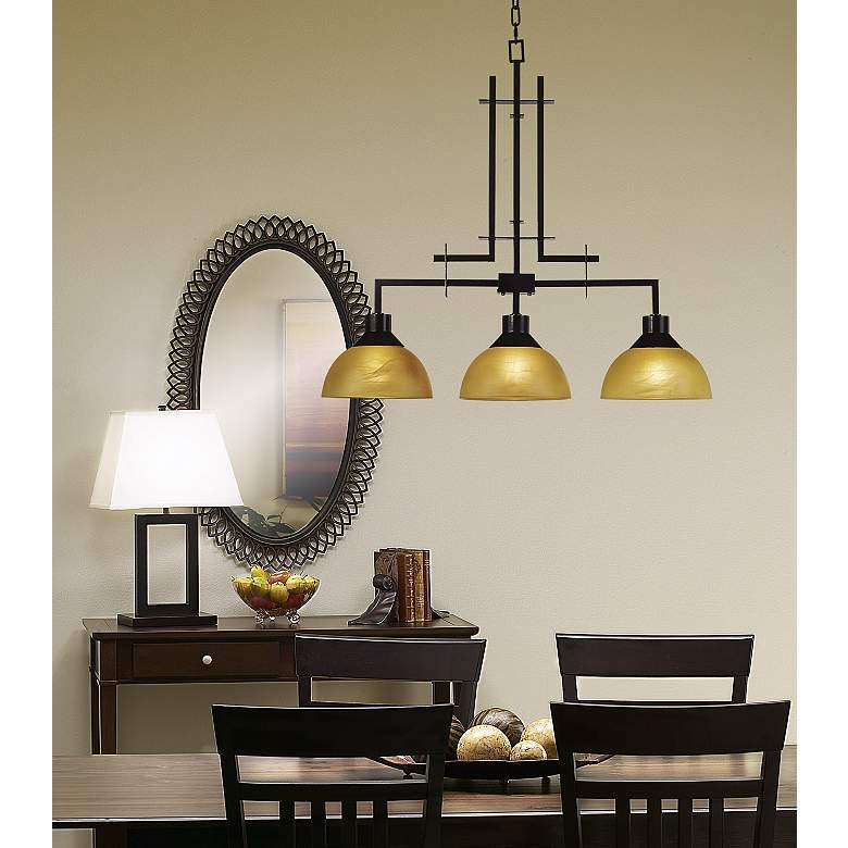 "Metro Collection 33 3/4"" Wide Three Light Island Chandelier in scene"