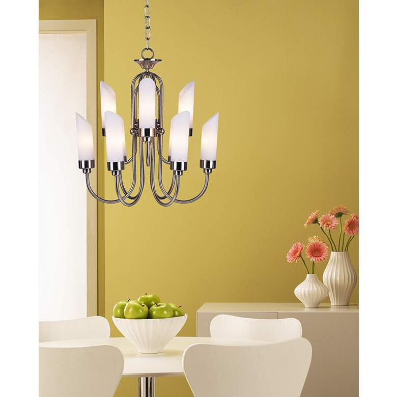 Possini Euro Design Brushed Nickel and Opal Glass Chandelier in scene
