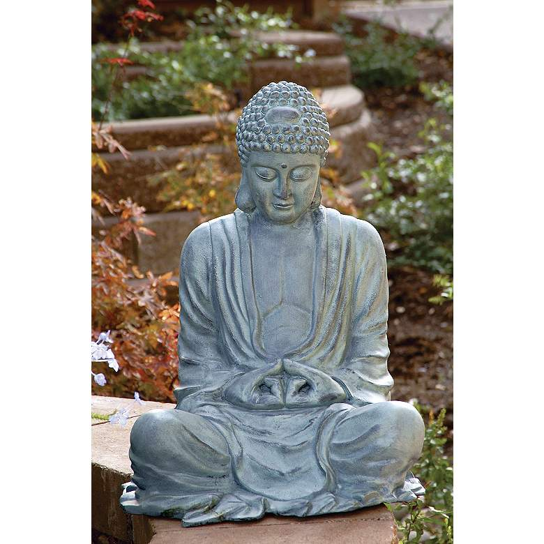 "Large Size 21 1/2"" High Garden Buddha Statuary in scene"