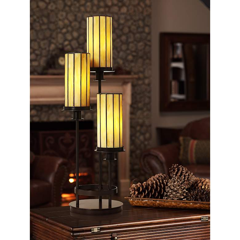 "Contemporary Mission 30"" High Three Light Tiffany-Style Console Lamp in scene"