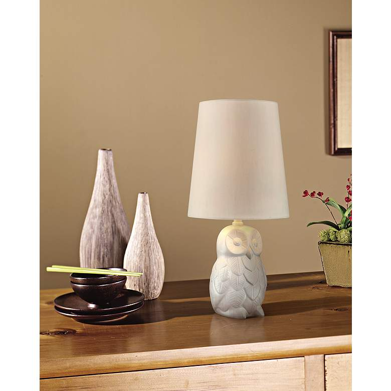 "Night Owl 19"" High White Ceramic Accent Table Lamp in scene"
