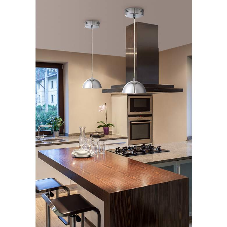 "Possini Euro Design Godori 6"" Wide LED Chrome Mini Pendant in scene"
