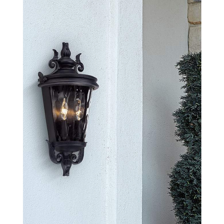 "Casa Marseille 17"" High Textured Black Outdoor Wall Light in scene"