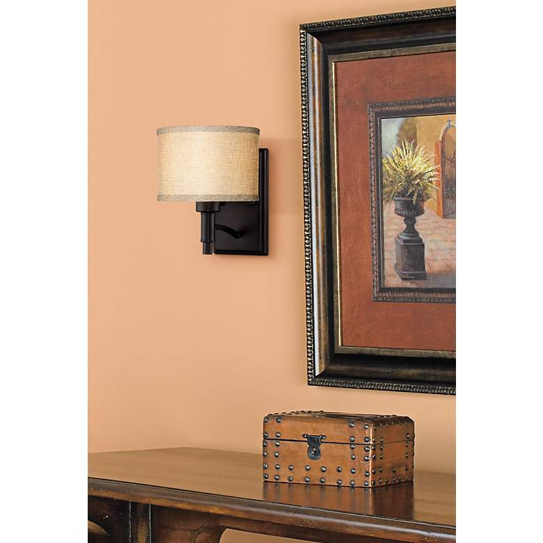 "La Pointe 9"" High Oatmeal Linen Shade Wall Sconce in scene"