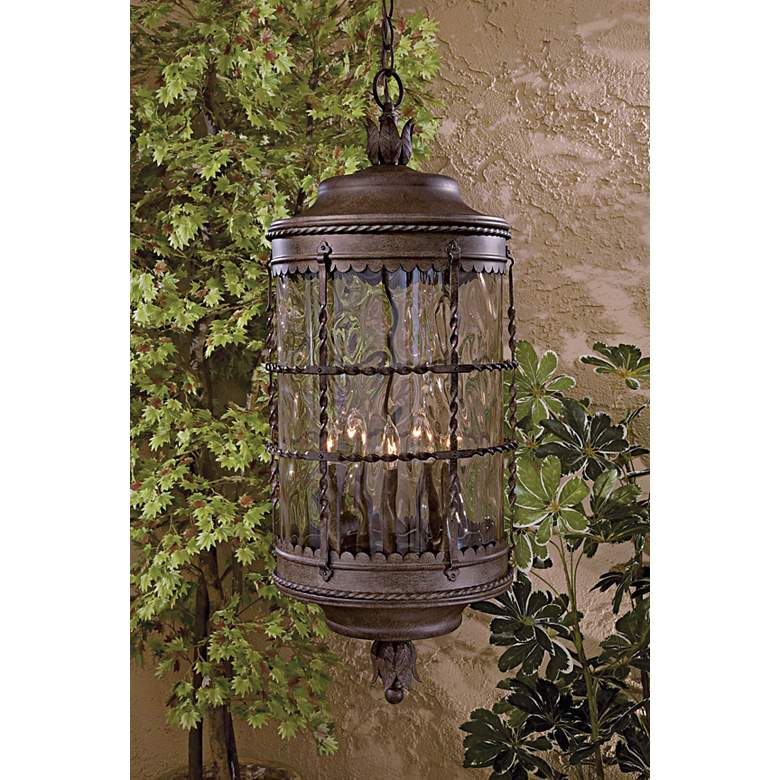 "Mallorca Vintage Rust 32"" High Chain Hung Outdoor Light in scene"