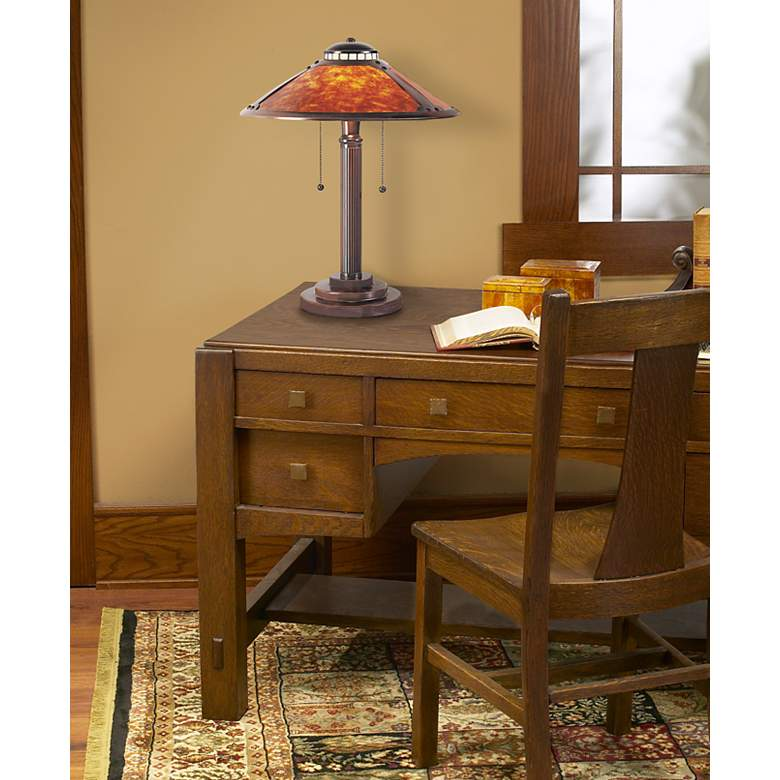 "Mica Collection 18 1/2"" High Mission-Style Desk Accent Lamp in scene"