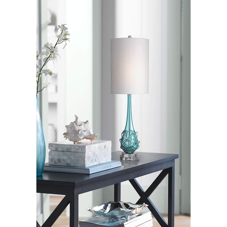 Possini Euro Dinah Blue Art Glass Table Lamp in scene