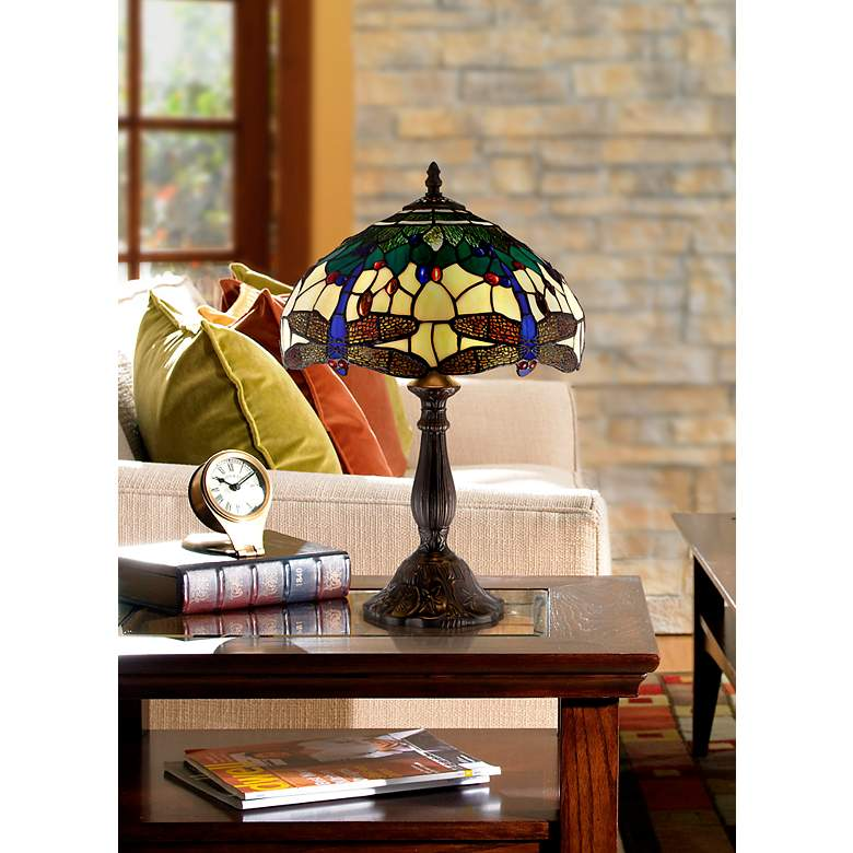 "Dragonfly Tiffany Style 18"" High Accent Table Lamp in scene"