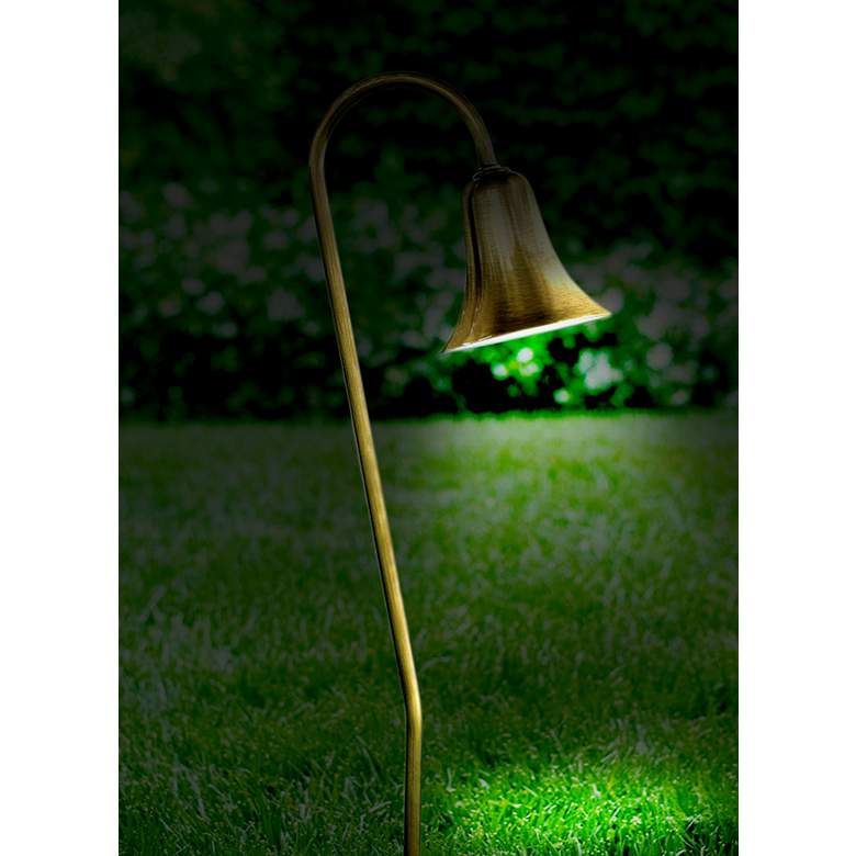 Dabmar Antique Brass Horn Landscape Path Light in scene
