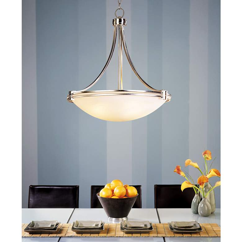 "Possini Euro Design Deco Nickel 24 1/4"" Wide Pendant Light in scene"