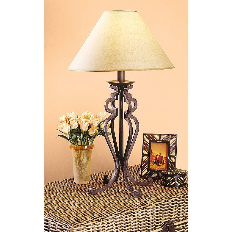 Open Scroll Rustic Wrought Iron Table Lamp in scene