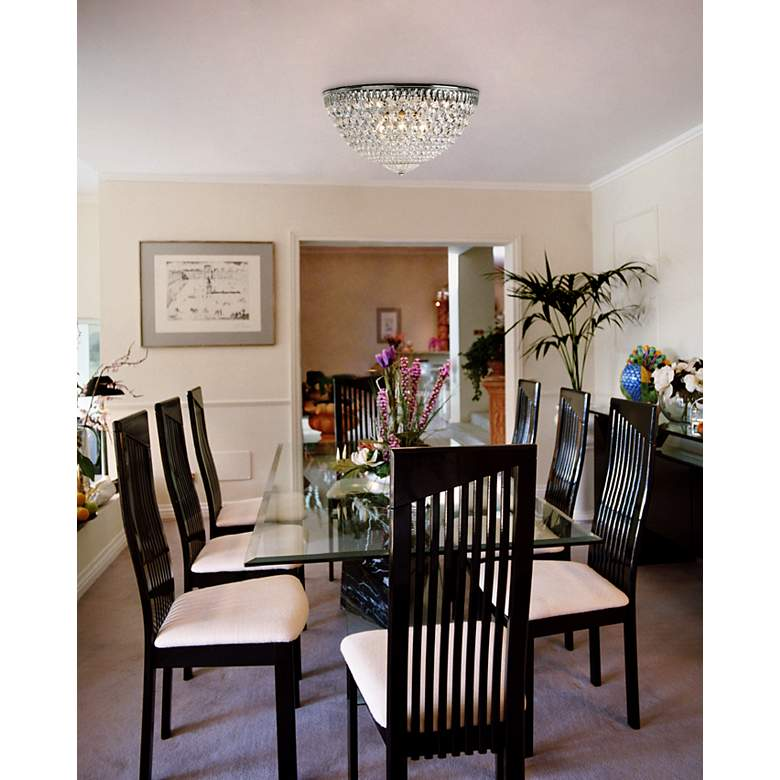 "Schonbek Silver 14"" Wide Swarovski Crystal Ceiling Light in scene"