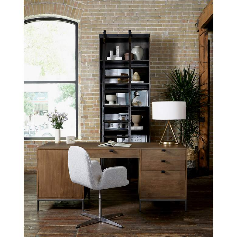 Trevor Elder Sable and Aluminum Swivel Desk Chair in scene
