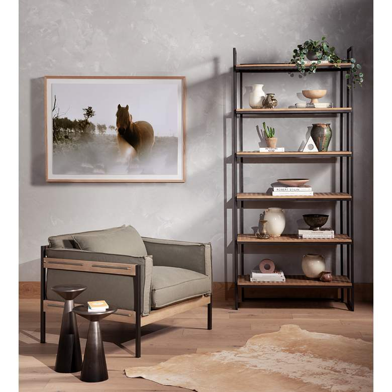 Upton Modern Villa Olive Green Iron and Parawood Chair in scene