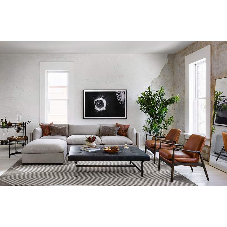 Braden Mid-Century Brandy Leather and Nettlewood Chair in scene