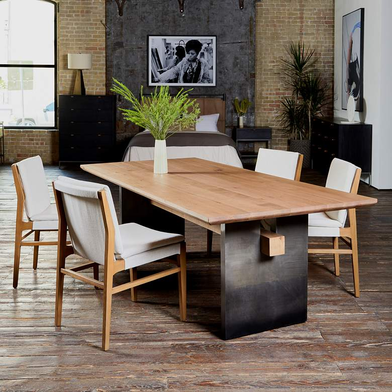 Aya Modern Brown Nettlewood Dining Chair in scene