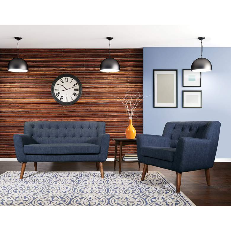 Mill Lane Navy Button-Tufted Loveseat in scene