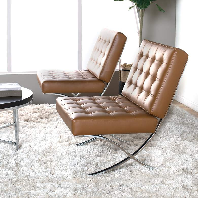 Atrium Caramel Brown Bonded Leather Tufted Accent Chair in scene