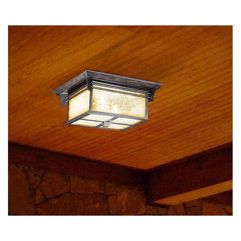 "Hickory Point 15"" Wide Bronze Outdoor Ceiling Light in scene"