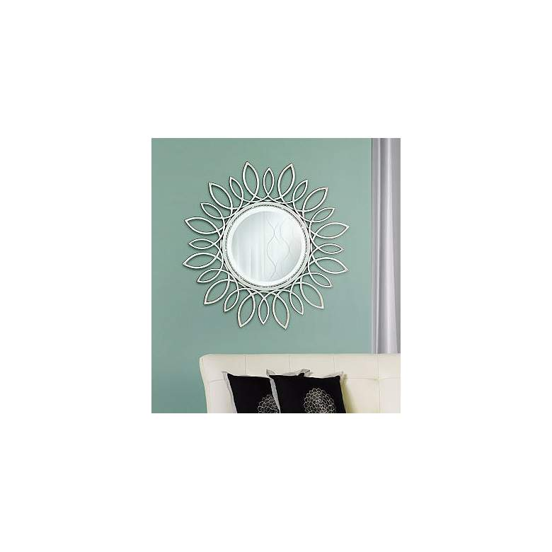 "Silver Daisy 30"" Wide Wall Mirror in scene"