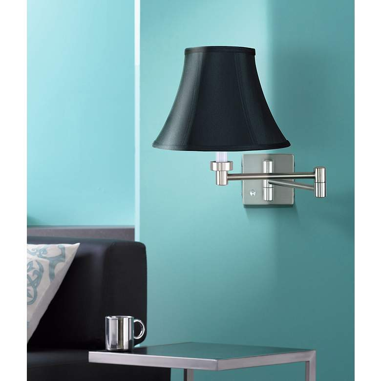Brushed Nickel Black Bell Shade Swing Arm Wall Lamp in scene