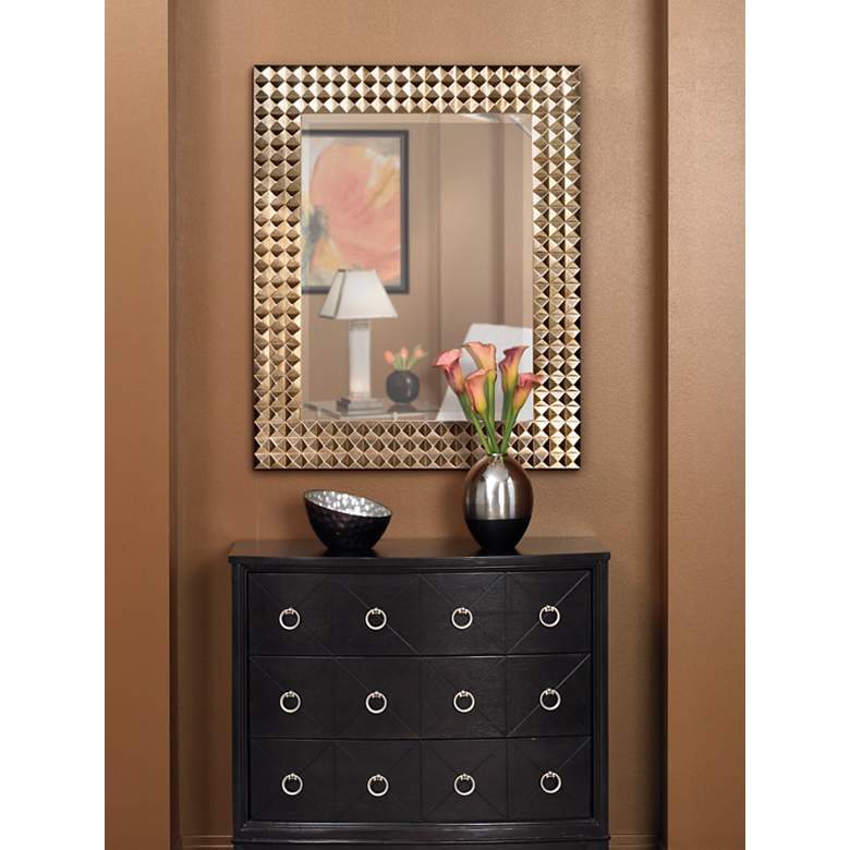 Pyramid Studded Frame with Silver Finish Wall Mirror in scene