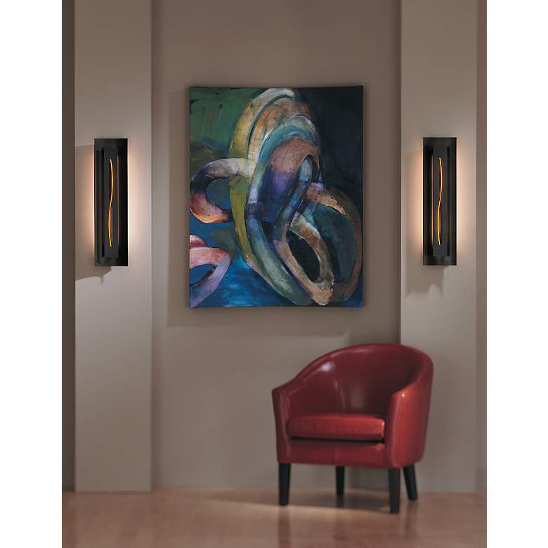 Gallery Amber Glass Curved Energy Efficient Wall Sconce in scene