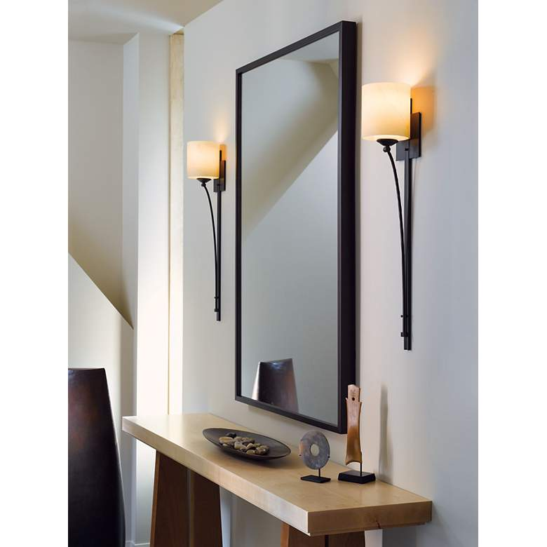 "Formae Contemporary Stone Glass 29 1/2"" High Wall Sconce in scene"