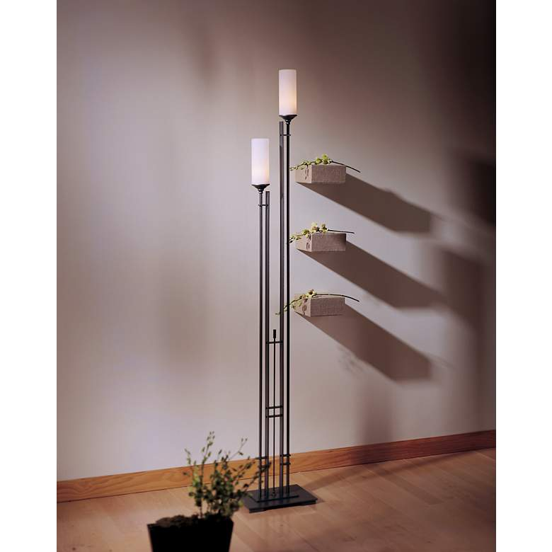 "Hubbardton Forge Metra Twin 74 3/4"" High Floor Lamp in scene"
