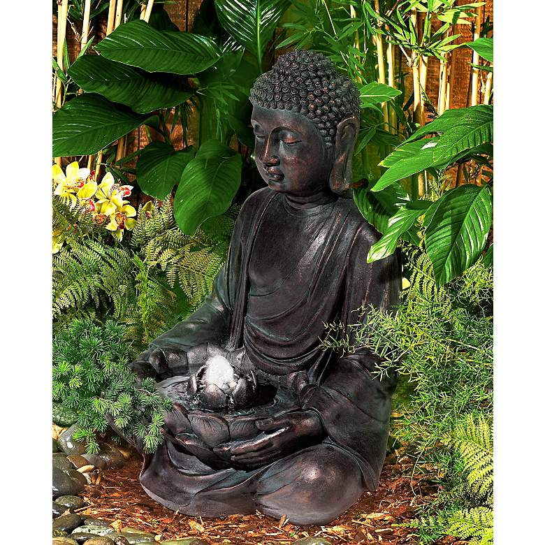 "Meditating Buddha 24"" High Bubbler Fountain with Light in scene"
